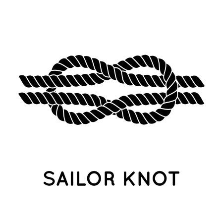 Sailor knot. Żeglarskie liny znak nieskończoności. Jedynka płaskim ikona z cienia. Wiązanie węzła. Graphic design element na zaproszenia ślubne, chrzciny, urodziny, scrapbooking karty, logo etc.