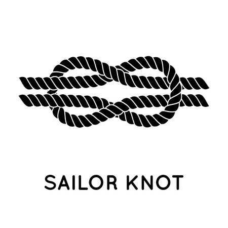 nautical pattern: Sailor knot. Nautical rope infinity sign. Single flat icon with shadow. Tying the knot. Graphic design element for wedding invitations, baby shower, birthday card, scrapbooking, logo etc.