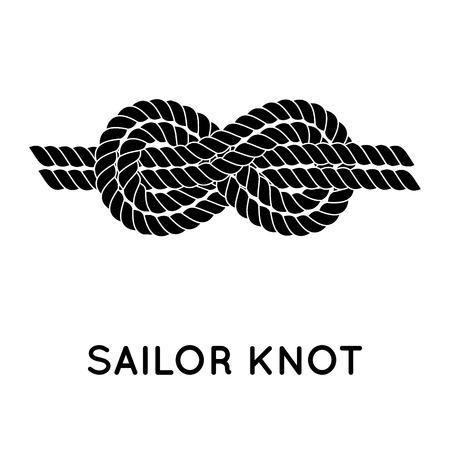 Seemannsknoten. Nautical rope infinity sign. Einzigen flachen Symbol mit Schatten. Den Bund fürs Leben. Grafik-Design-Element für die Hochzeitseinladungen, Babyparty, Geburtstag Karte, Scrapbooking, Logo etc.