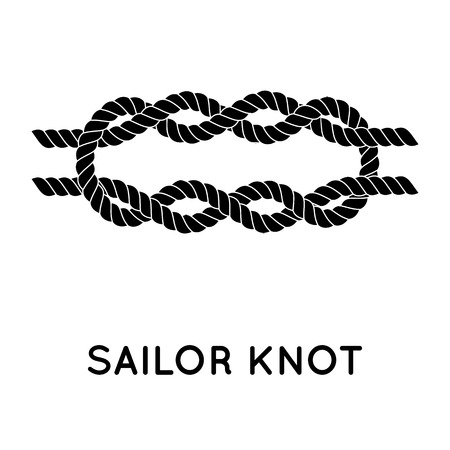 knot: Sailor knot. Nautical rope infinity sign. Single flat icon with shadow. Tying the knot. Graphic design element for wedding invitations, baby shower, birthday card, scrapbooking, logo etc.