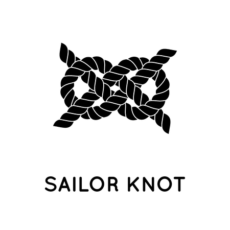 nudo: Sailor knot. Nautical rope infinity sign. Single flat icon with shadow. Tying the knot. Graphic design element for wedding invitations, baby shower, birthday card, scrapbooking, logo etc.