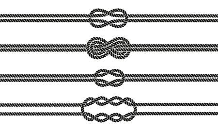 diviseurs Sailor noeud réglés. Nautique signe corde infini. Corde frontière. Attacher le noeud. Graphic element de conception pour des invitations de mariage, baby shower, carte d'anniversaire, scrapbooking, logo, etc.
