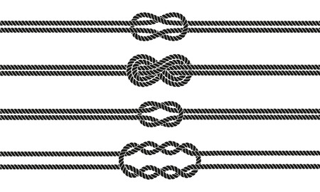 nautical rope: Sailor knot dividers set. Nautical rope infinity sign. Rope border. Tying the knot. Graphic design element for wedding invitations, baby shower, birthday card, scrapbooking, logo etc