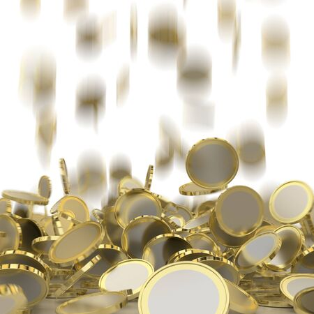 financial success: Falling golden and silver coins. Money rain. Pile of coins. Financial success, cash flow, business on the rise concept.