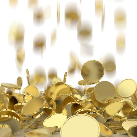 money rain: Falling golden and silver coins. Money rain. Pile of coins. Financial success, cash flow, business on the rise concept.