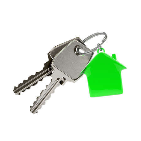 Two keys on a ring with a green plastic house chain. Photo-realistic illustration.