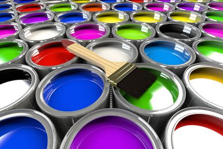 Varias latas de pintura abierto con un cepillo. Colores del arcoiris. La creatividad y el concepto de diversidad. Foto de archivo