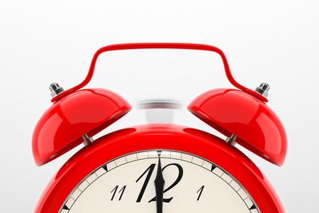 Klingeln Wecker. Red Tisch Regal Jahrgang Uhr auf weißem Hintergrund. Frist, aufwachen, die Zeit abgelaufen ist, schnell handeln, Verkauf Erinnerung, heiße Preise Konzept.