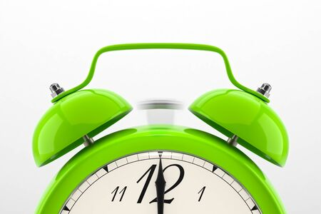 Ringing alarm clock. Green table shelf vintage clock on white background. Deadline, wake up, time is up, act fast, sale reminder, hot prices concept. Reklamní fotografie