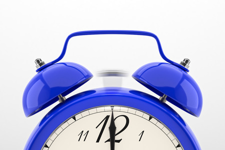 Ringing alarm clock. Blue table shelf vintage clock on white background. Deadline, wake up, time is up, act fast, sale reminder, hot prices concept.