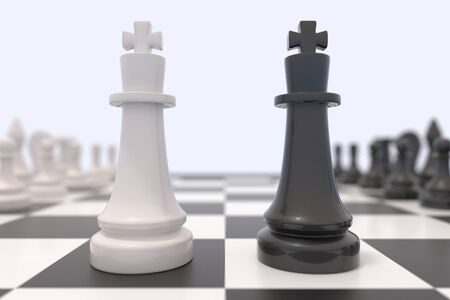 confrontation: Two chess pieces on a chessboard. Black and white kings facing each other. Competition, discussion, agreement or opposition and confrontation concept.