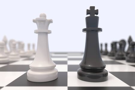 facing: Two chess pieces on a chessboard. Black king and white queen facing each other. Confrontation between men and women, feminism, competition, discussion, agreement concept. 3D illustration. Stock Photo