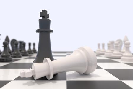 tablero de ajedrez: Dos piezas de ajedrez sobre un tablero de ajedrez. Rey blanco que se establecen y el rey negro de pie. Victoria, la competencia, la discusión, el acuerdo y el concepto de la confrontación. Ilustración 3D. Foto de archivo