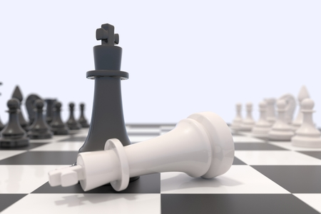 chessboard: Two chess pieces on a chessboard. White king laying down and black king standing up. Victory, competition, discussion, agreement and confrontation concept. 3D illustration.