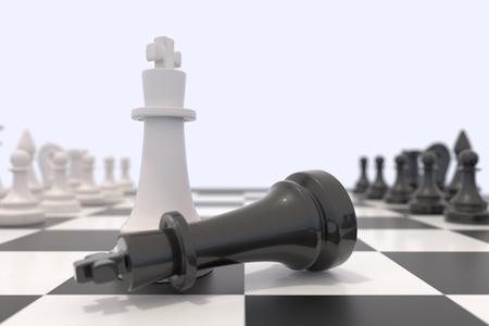 tablero de ajedrez: Dos piezas de ajedrez sobre un tablero de ajedrez. rey negro que se establecen y el rey blanco de pie. Victoria, la competencia, la discusi�n, el acuerdo y el concepto de la confrontaci�n. Ilustraci�n 3D. Foto de archivo