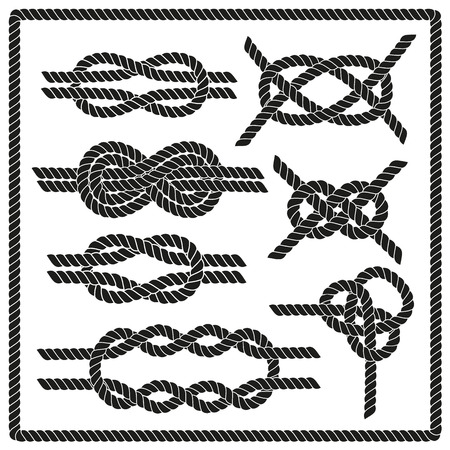 nudo: Establece nudo marinero. Náutico signo infinito cuerda. Elemento de la esquina. Frontera del marco de la cuerda. Atar el nudo. Elemento de diseño gráfico para las invitaciones de boda, baby shower, tarjeta de cumpleaños, scrapbooking, logotipo, etc.