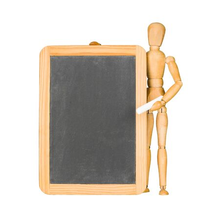 mannequin: mannequin en bois et tableau noir isol� sur blanc Banque d'images