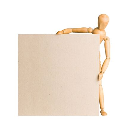 Wooden model dummy holding blank square carton board isolated on white.