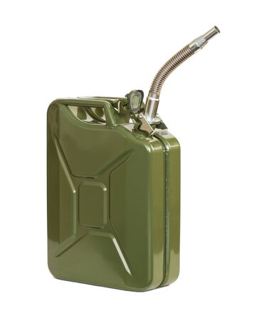 spout: Jerrycan with flexi pipe spout. Fuel can. Stock Photo