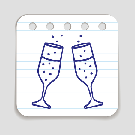 blue pen: Doodle icon of Champagne Glasses.  Blue pen hand drawn infographic symbol on a notepaper piece. Line art style graphic design element. Web button with shadow. Vector illustration Illustration