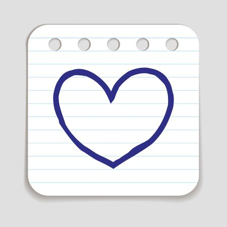art piece: Doodle Heart icon. Blue pen hand drawn infographic symbol on a notepaper piece. Line art style graphic design element. Web button with shadow. Love wedding feelings cupid concept. Illustration