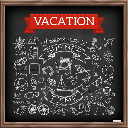 summertime: Vacation doodles on chalk board. Hand drawn icons collection of travel and summertime symbols - airplane, passport, boat, anchor, cocktails, bikini, ice cream, beach chair etc. Vector illustration.
