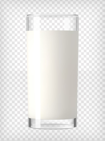 Milk in a glass. Healthy diet. Clean eating.Tall glass with beverage. Breakfast, protein rich dairy product. Transparent photo realistic vector illustration. Stock Illustratie