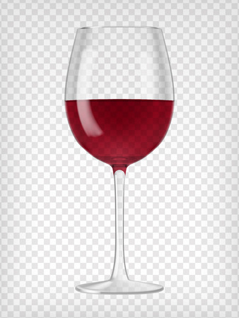 Wine glass. Red wine in a glass. Clear glass with red drink. Alcoholic beverage. Transparent vector.  Graphic design element.