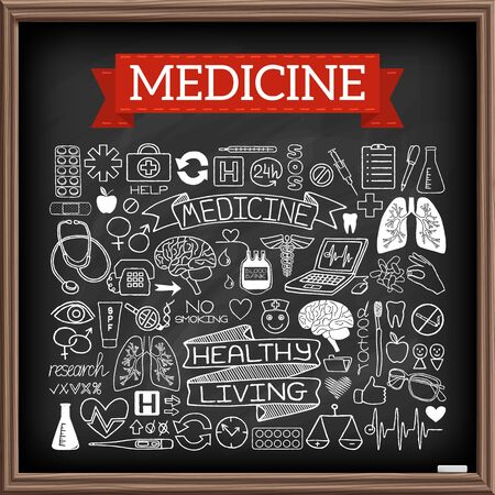 Medical doodles on chalk board. Hand drawn healthcare set of icons with medicine and science tools, human organs, diagrams, banners with quotes etc. Black chalkboard effect. Vector illustration.