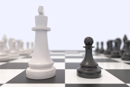 confrontation: Two chess pieces on a chessboard. Black king and white pawn facing each other. Standing up to a bigger opponent, competition, discussion, agreement and confrontation concept. 3D illustration.