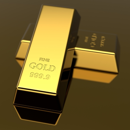 precious metal: Golden bars. Precious metal ingots. Business background. Finance and banking concept. 3D illustration. Stock Photo