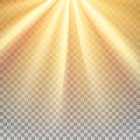 Gelbe Sonnenstrahlen. Warme Orange Akzent. Glänzen Effekt mit Transparenz. Zusammenfassung leuchtenden hellen Hintergrund. Vektorgrafik