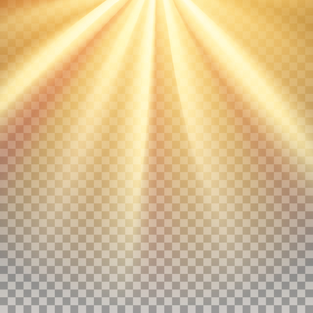 Yellow sun rays. Warm orange flare. Glaring effect with transparency. Abstract glowing light background.