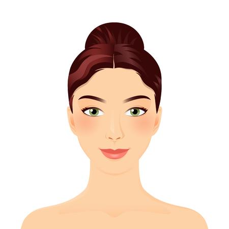 어린 소녀의 얼굴. 매끄러운 머리와 롤빵에 여자 초상화 웃 고. 검은 머리. 클린 피부, 화장품 개념, 신선한 건강 얼굴, 아름 다운 모델입니다. 스파 또 일러스트
