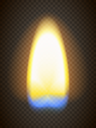 candlelight: Realistic fire. Matchstick flame with yellow and blue section. Transparency grid. Illustration
