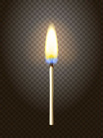 Realistic burning match. Matchstick flame. Transparency grid. Special effect.
