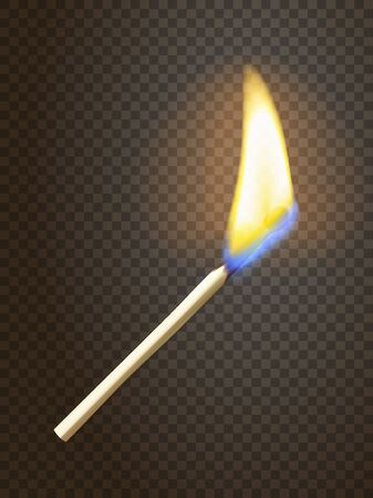 special effect: Realistic burning match. Matchstick flame. Transparency grid. Special effect.