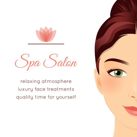 spa salon: Spa Salon poster with a face of a beautiful girl.