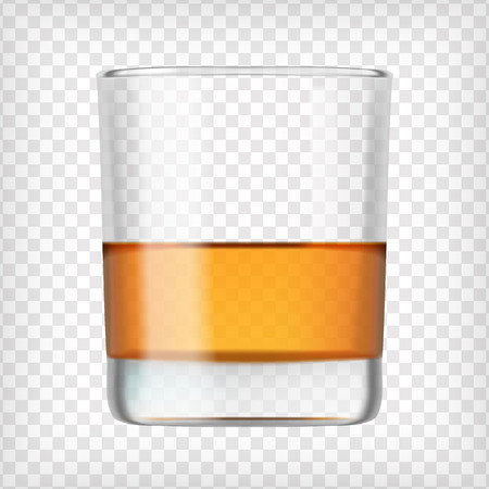 highball: Glass of scotch whiskey. Shot of alcohol. Short glass with beverage. Transparent  photo realistic vector illustration.