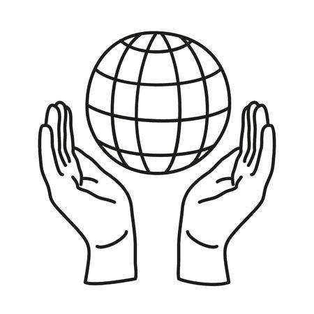 Doodle icona. Due mani che tengono un globo. Salva la terra. Concetto ambientale. icona di linea per il web, mobile e infografica. Illustrazione vettoriale.