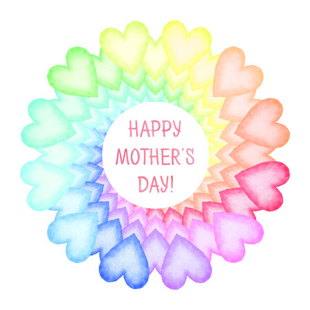 green day baby blue background: Hand painted Mothers Day card. Rainbow spiral of colorful hearts with text. Vector illustration. Illustration