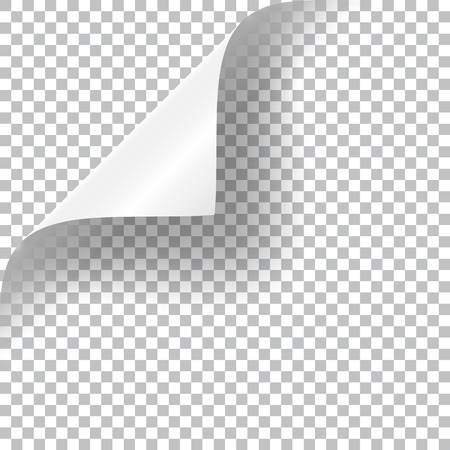 rolled: Curly Page Corner realistic illustration with transparent shadow. Ready to apply to your design