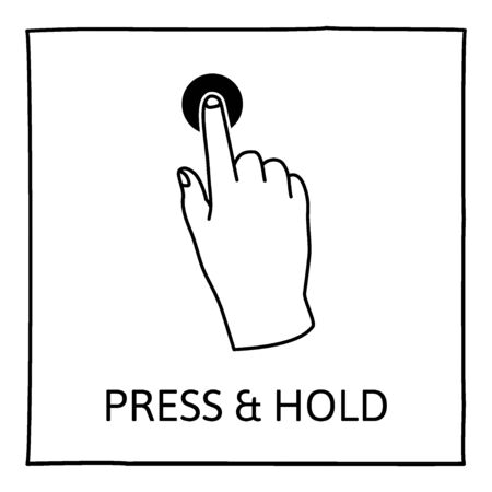 one finger: Doodle gesture icon. Press and hold with one finger. Touch screen hand gestures. Hand drawn. Isolated on white. Vector illustration.