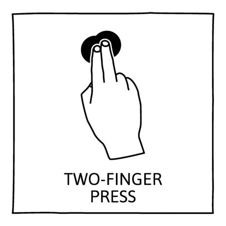 touch screen hand: Doodle gesture icon. Two fingers long press. Touch screen hand gestures. Hand drawn. Isolated on white. Vector illustration. Illustration