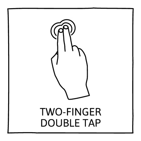 double tap: Doodle gesture icon.  Two fingers double tap. Touch screen hand gestures. Hand drawn. Isolated on white. Vector illustration.