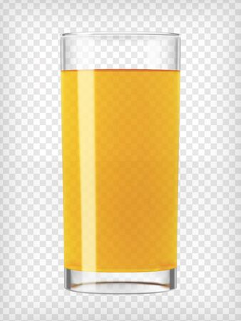 orange juice glass: Orange juice glass. Fruit organic drink. Healthy diet. Clean eating. Tall glass with beverage. Transparent  photo realistic vector illustration.