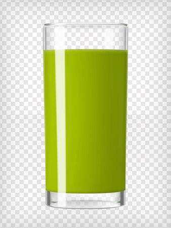 green vegetable: Green smoothie glass. Fruit organic drink. Healthy diet. Clean eating. Tall glass with beverage. Transparent  photo realistic vector illustration.