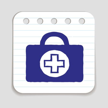 price reduction: Doodle Doctors Bag icon. Hand drawn doodle with flowers and letters. Blue pen on notepad page. Shopping, price reduction, season advertising label. Vector illustration. Illustration
