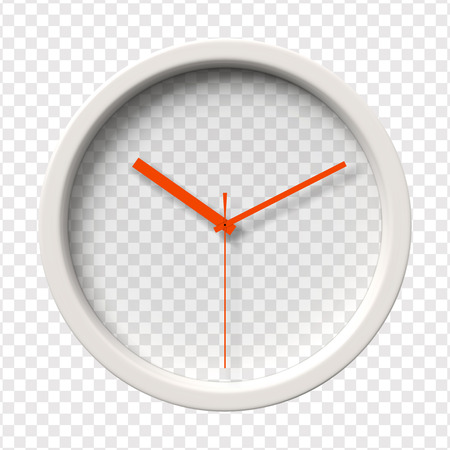 o'clock: Realistic Wall Clock. Ten oclock am or pm. Transparent face. Red hands. Ready to apply. Graphic element for documents, templates, posters, flyers. Vector illustration