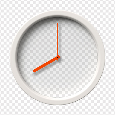 Realistic Wall Clock. Eight oclock am or pm. Transparent face. Red hands. Ready to apply. Graphic element for documents, templates, posters, flyers. Vector illustration Ilustração